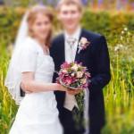 Brautstrauss und Anstecker rosafarbend
